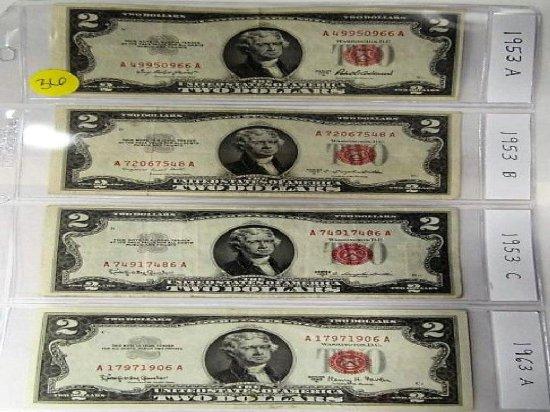 Sheet of four $2 1953A, 1953B, 1953C, 1963A