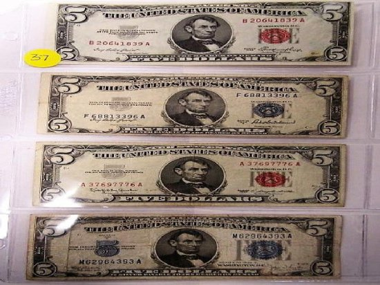 Sheet of four $5, 1953, 1953A, 1963, 1934C