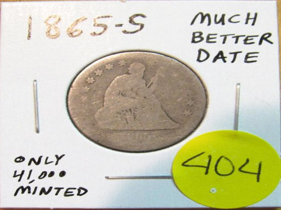 1865-S Much Better Date Seated Liberty Quarter