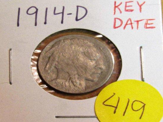 1914-D Key Date Buffalo Nickel