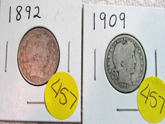 1892, 1909 Barber Quarters