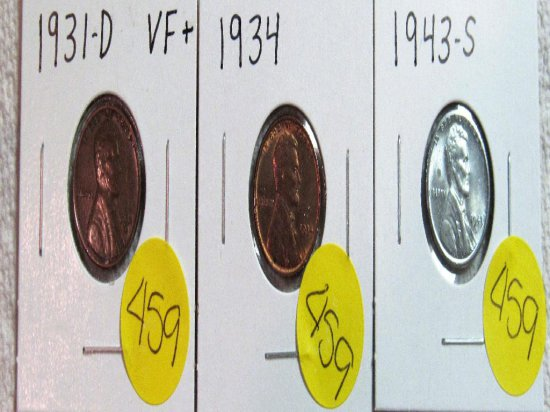 1931-D 1934, 1943-S Lincoln Cent