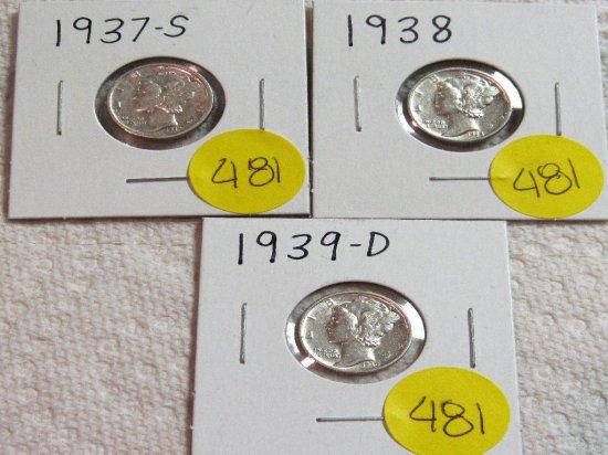 1937-S, 1938, 1939-D Mercury Dimes