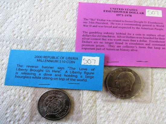 Eisenhower Dollar, $10 Republic of Liberia Millennium Coin