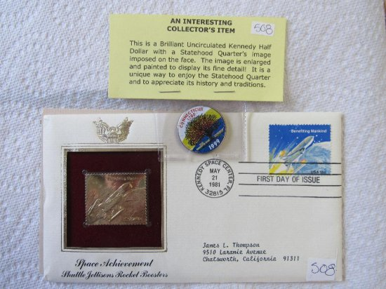 24K First Day Commemorative Stamp, Uncirculated Half Dollar with Statehood Quarted Image
