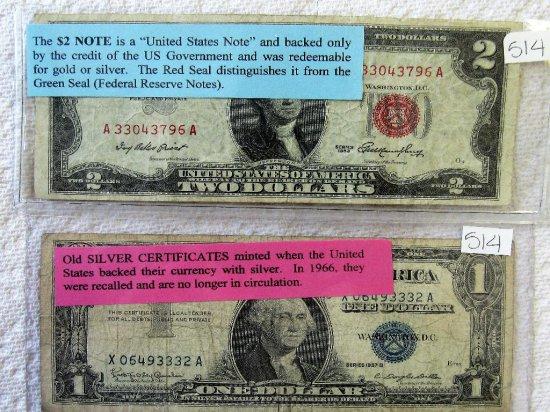 1953 $2 Bill, 1957 Silver Certificate