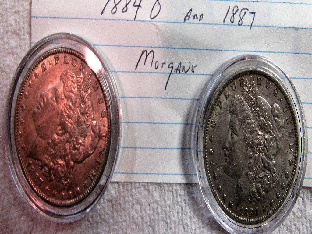 1887 and 1884 O Morgan Dollars