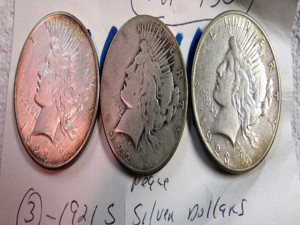 3 Peace Dollars 1922,(2) 1923 S