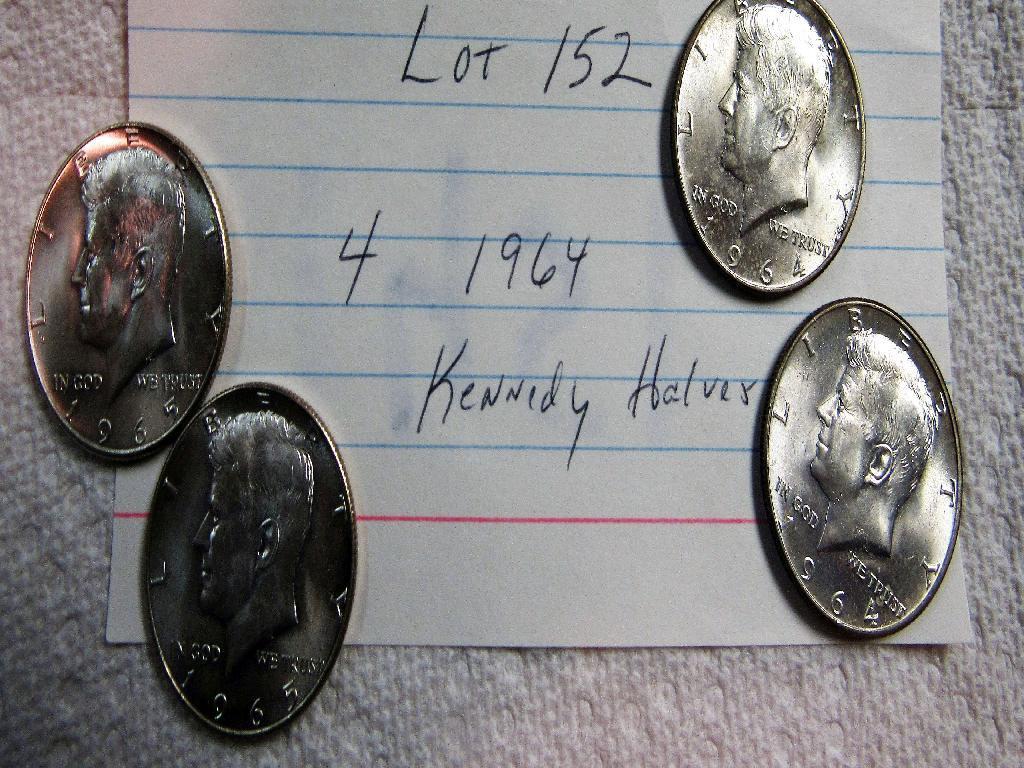4 1964 Kennedy Halves