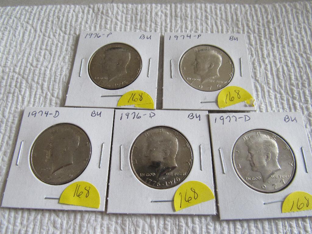(5) Kennedy Half Dollars