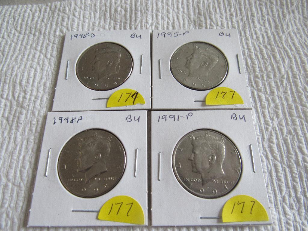(4) Kennedy Half Dollars, all BU