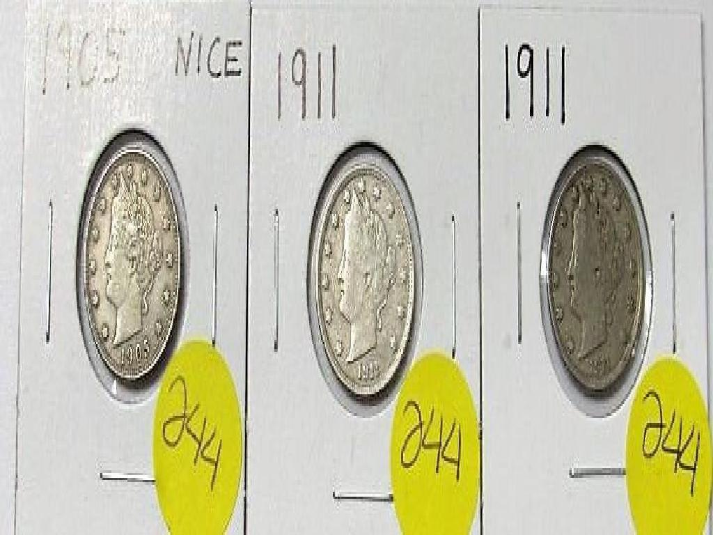 1905, 1911, 1911 Liberty Nickels