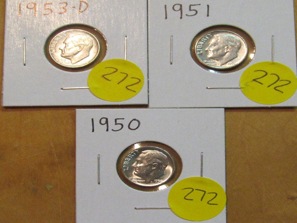 1950, 1951, 1953-D Dimes