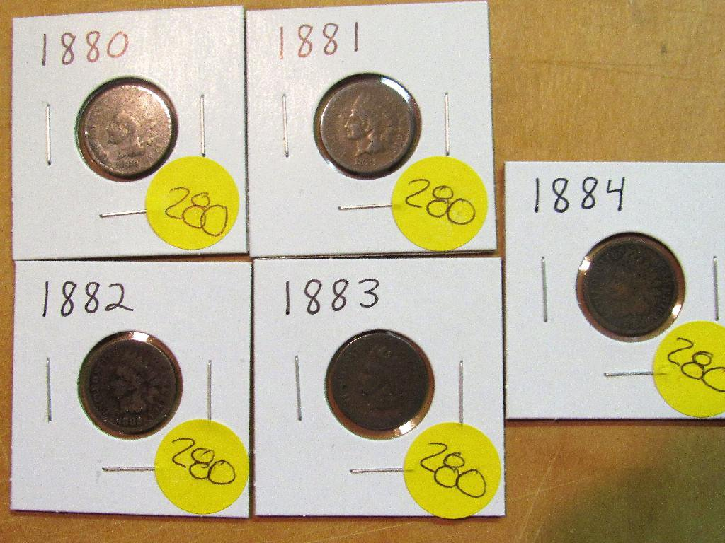 1880, 1881, 1882, 1883, 1884 Indian Cents