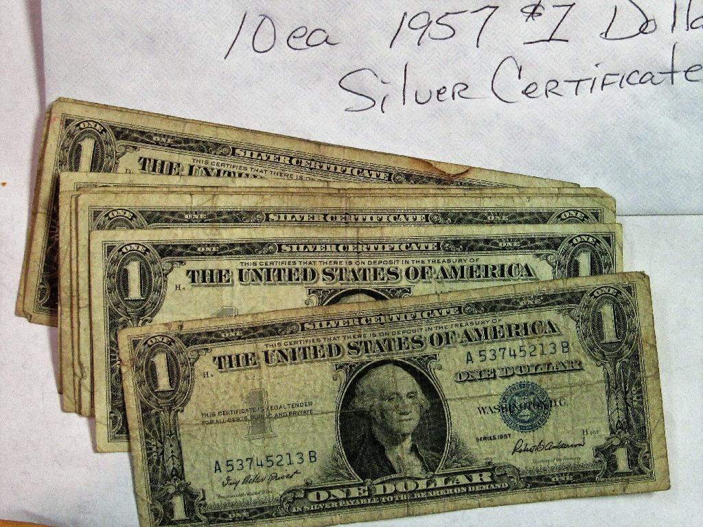 1957 10 Each Silver Certificates