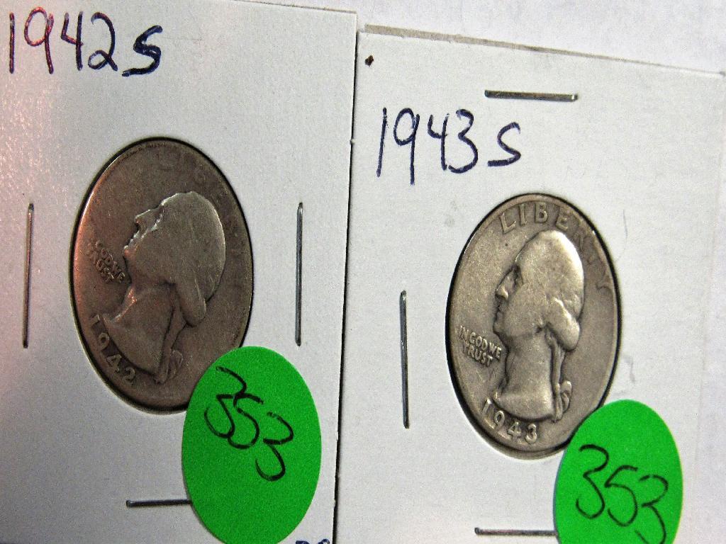2 ea 1942S, 1943S Washington Quarters