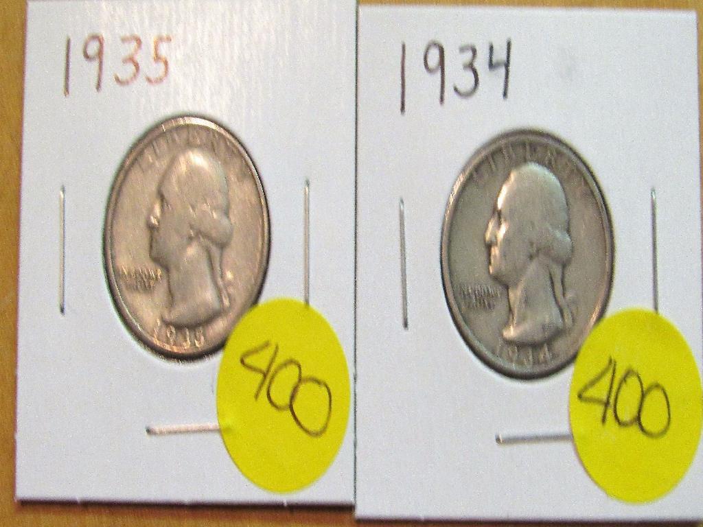 1934, 1935 Washington Quarters