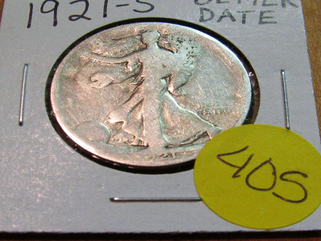 1921-S Better Date Walking Liberty Half Dollar
