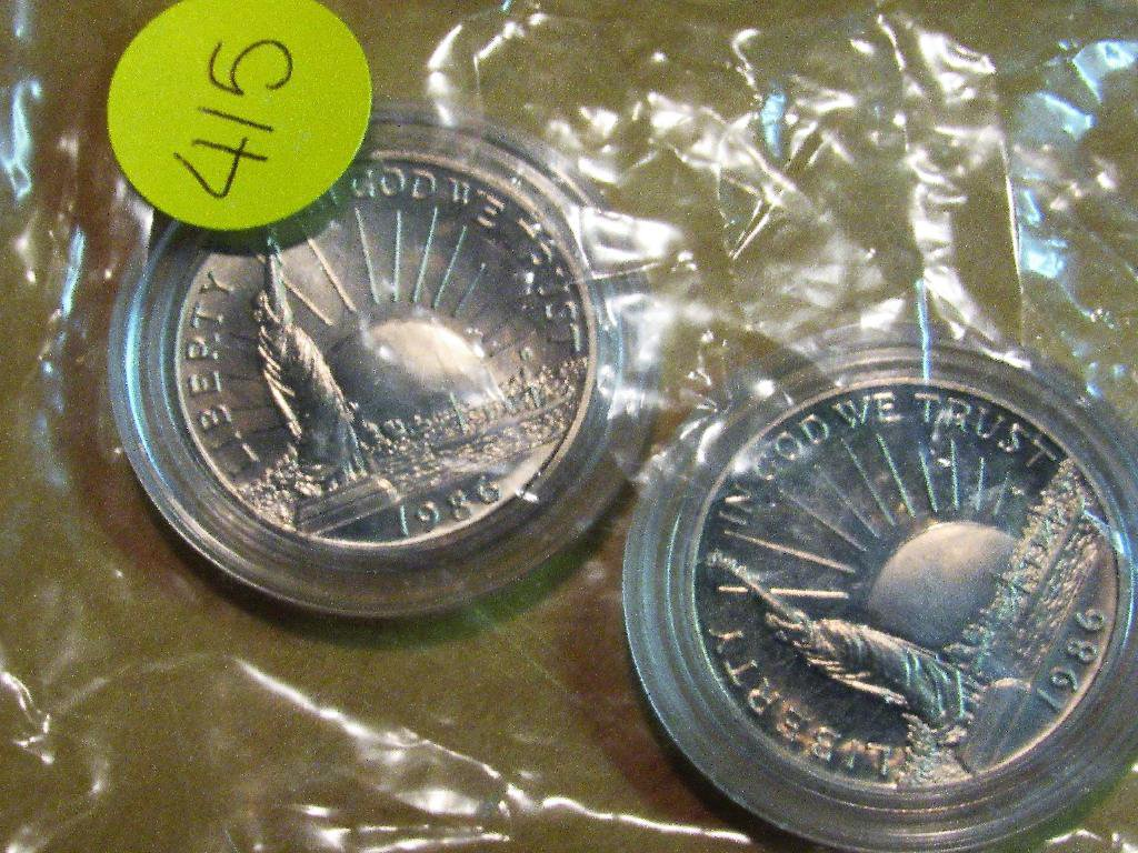 2 1986 Commemorative Half Dollars