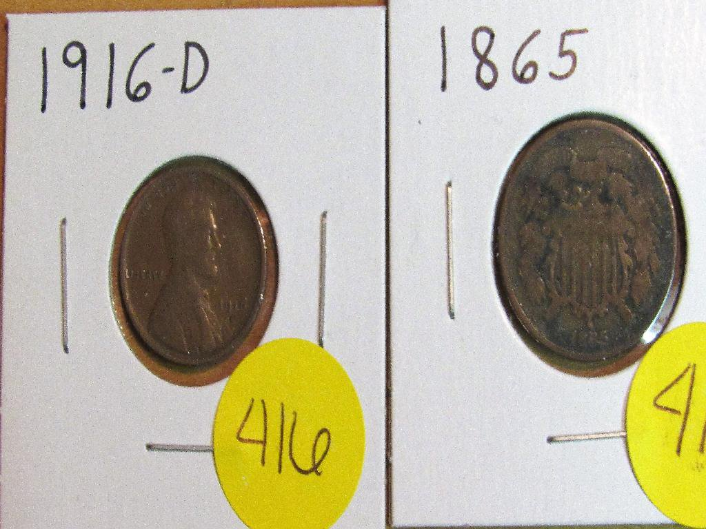 1865 2 Cent Piece and 1916-D Lincoln Cent