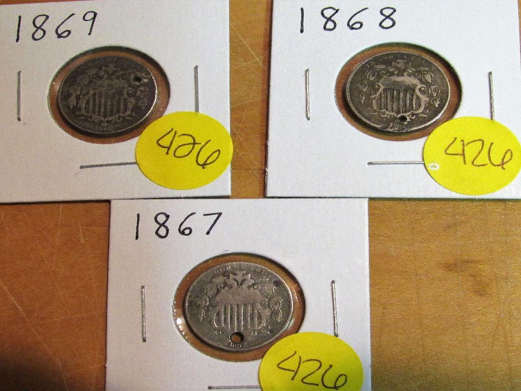 1867, 1868, 1869 Shield Nickels