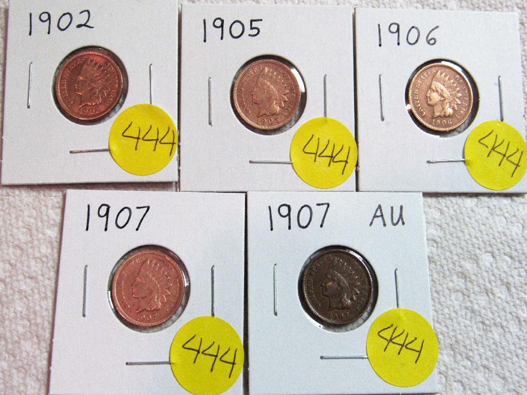 1902, 1905, 1906, 1907, 1907 AU Indian Cents