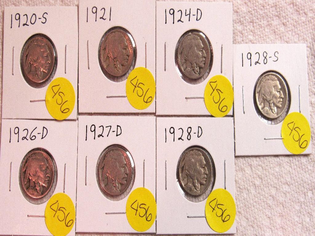1920-S, 1921, 1924-D, 1926-D, 1927-D, 1928-D, 1928-S Buffalo Nickels