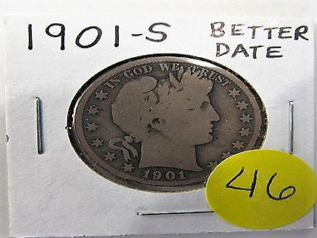 1901-S Better Date Barber Half Dollar