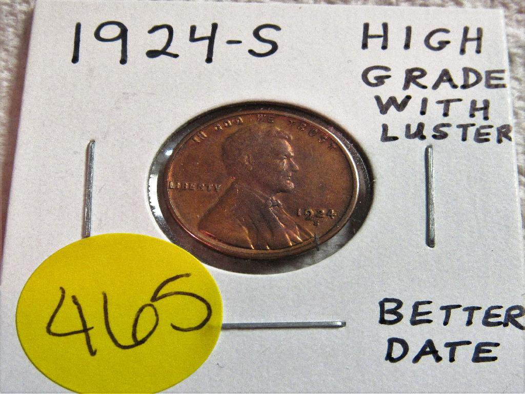 1924-S Lincoln Cent High Grade with Luster