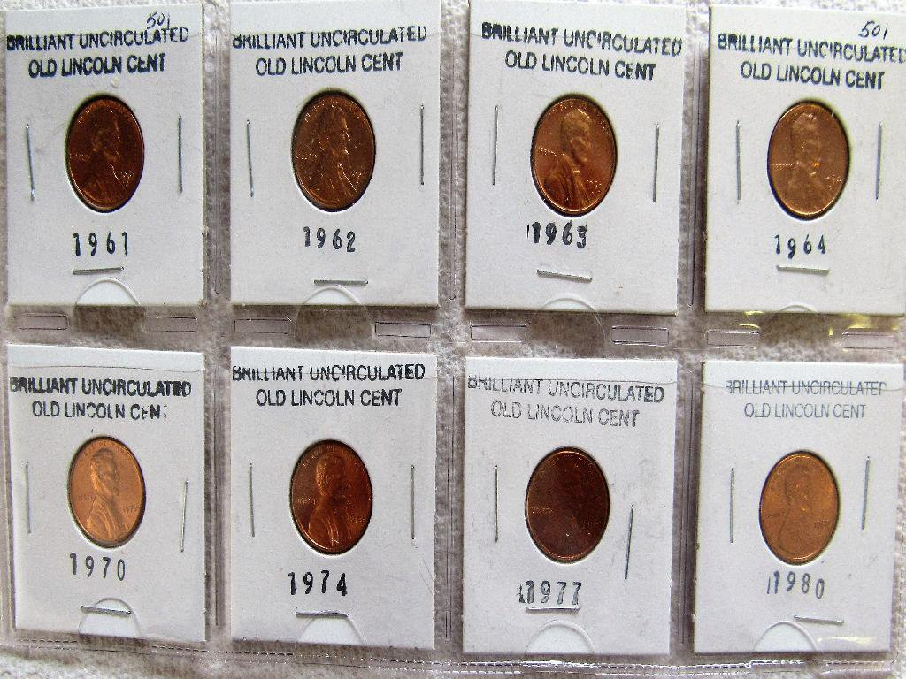 8 Uncircilated Lincoln Cents