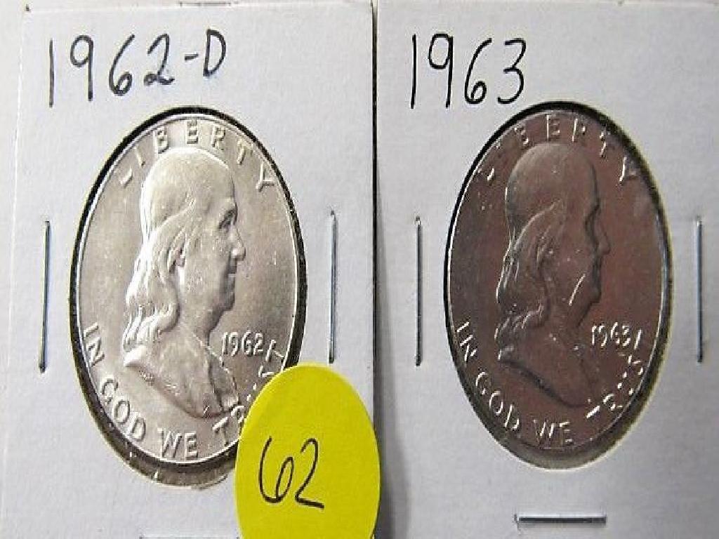 1962-D, 1963 Franklin Half Dollars