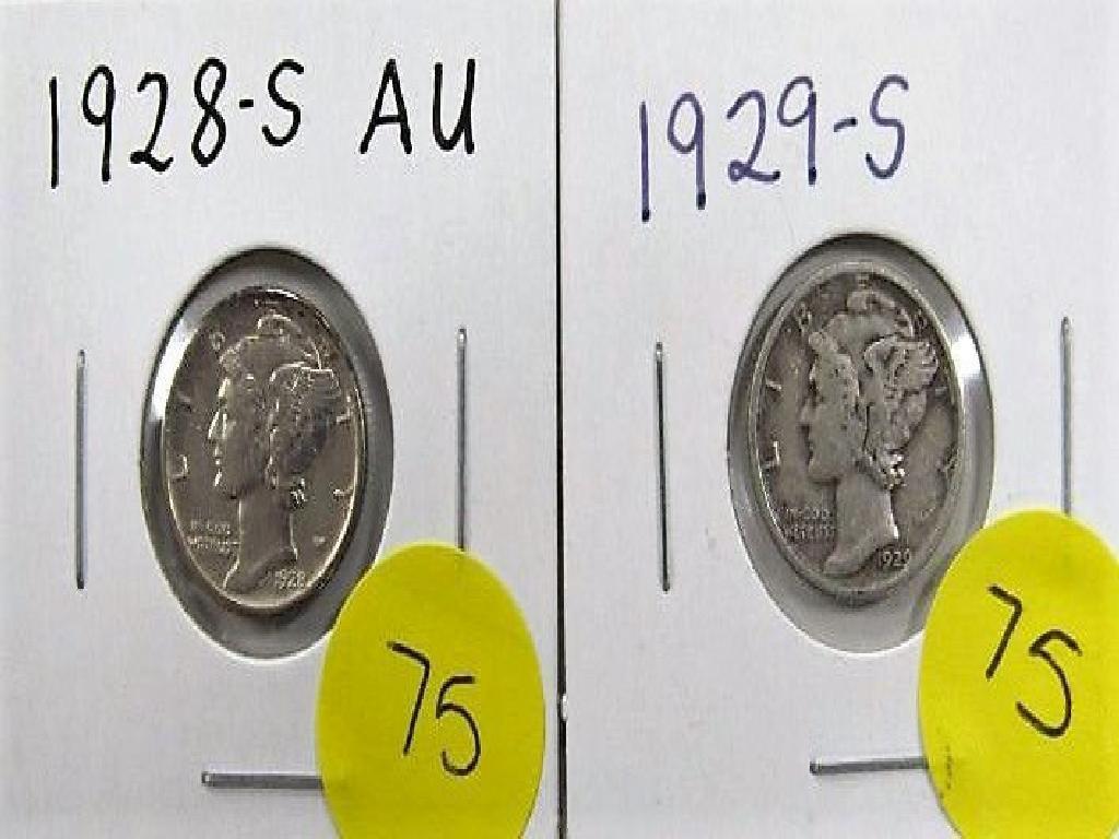 1928-S, 1929-S Mercury Dime