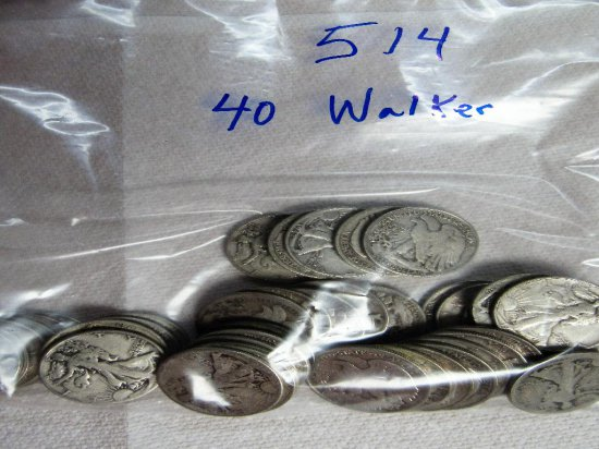40 Walking Liberty Halves