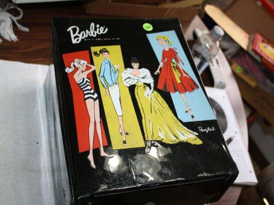 Rare Mattel Black Barbie Suitcase w/ 1961 Ponytail Barbie