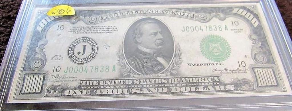 1934 $1000.00 Federal Reserve Note