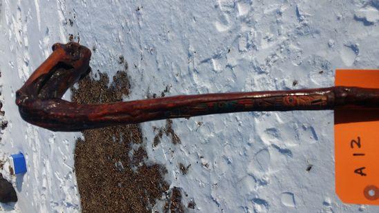 Carved Wood Cane, Totem pole