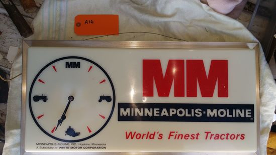 Minneapolis Moline Adv. Sign Clock