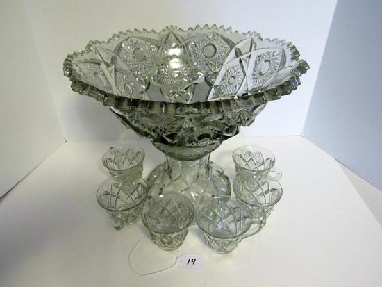 100 year old glass punch bowl with 6 cups
