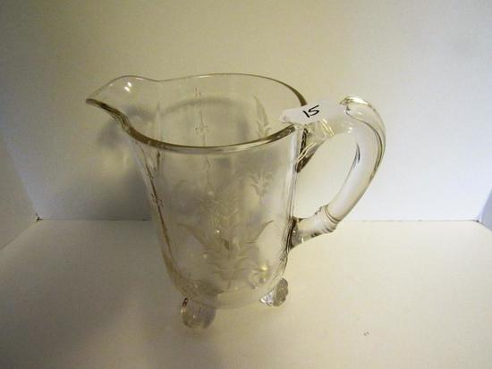 100 year old three legged etched pitcher
