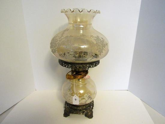 amber glass parlor lamp