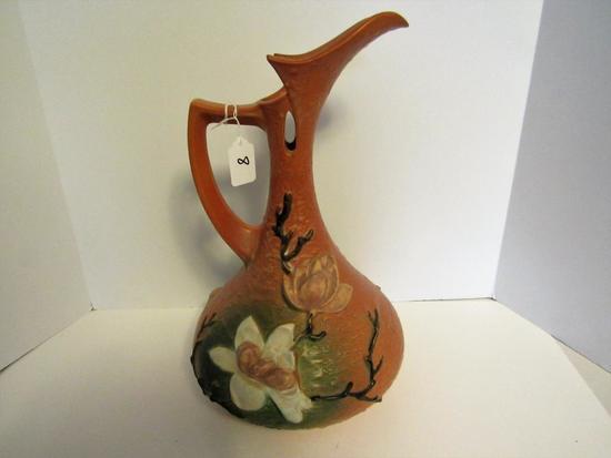 Roseville pitcher vase Magnolia pattern