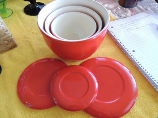 3 red Cambridge bowls with lids