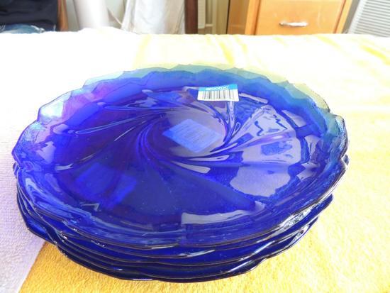 6 Arcoroc France cobalt blue plates
