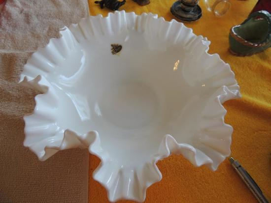 Fenton white hobnail fluted bowl