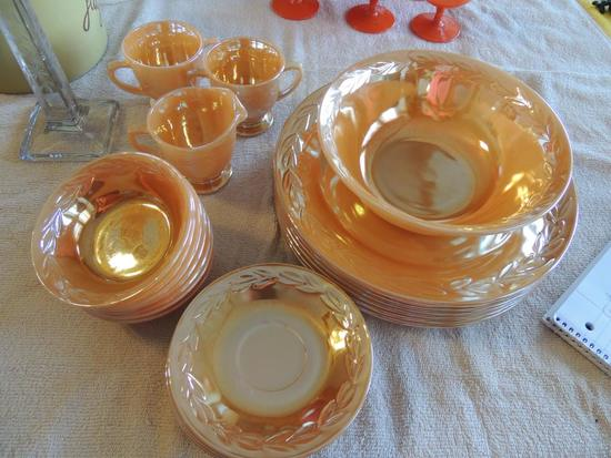 Fire King peach luster Laurel Leaf dishes