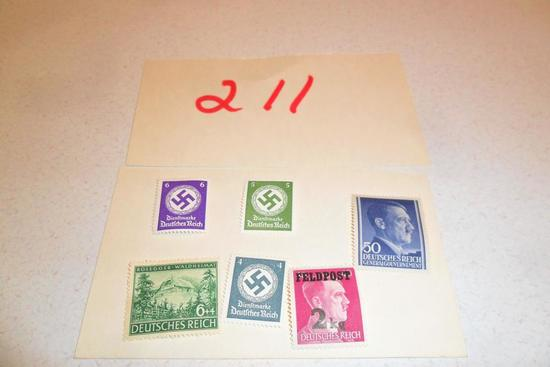 Lot of 6 WWII Nazi Stamps