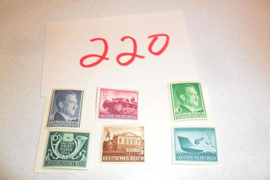 Lot of 6 WWII Nazi Stamps, 1 Postcard