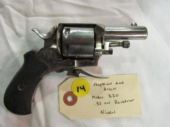 Hopkins and Allen Model 320 32 Cal Revolver Nickel Folding Trigger