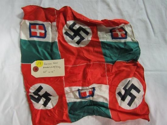 "German Nazi Handkerchief Flag  12"" x 12"""