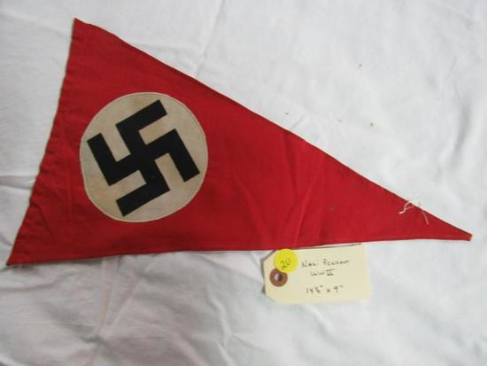 "Nazi Pennant WWII 14 1/2"" x 9"""